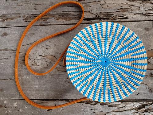 Rattan Bag Natural blue stripes