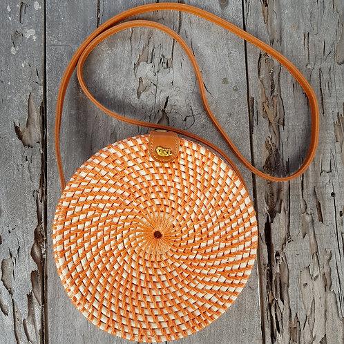 Rattan Bag Natural in orange color