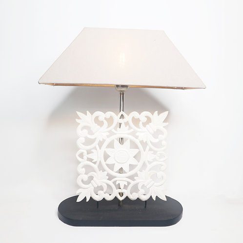 Wood Carving Table Lamp With Cotton Shade