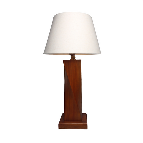 Siluet Mahogany Table Lamp With Cotton Shade