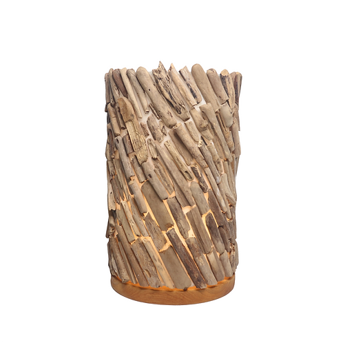 Drift Wood Round Table Lamp With Fiber