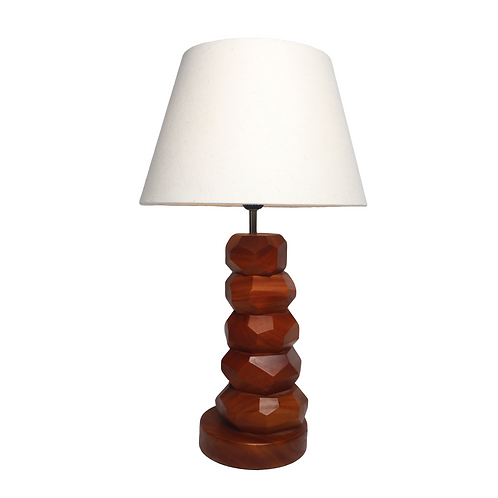Five Ball Mahogany Table Lamp With Cotton Shade