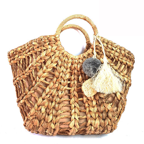 Water Hyacinth bag with soft fabric and pom pom