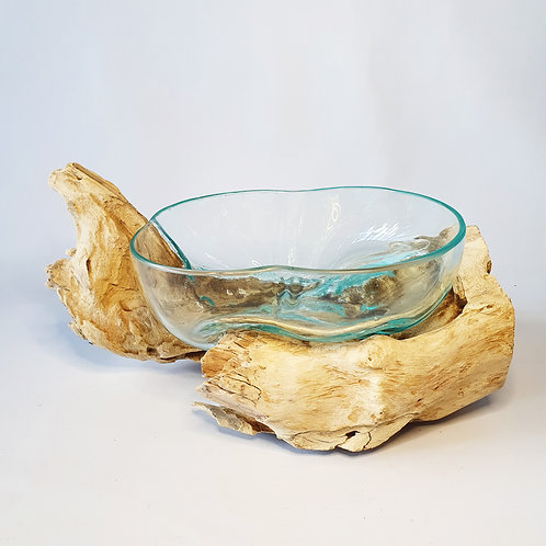 Glass aquarium melted on the wood #6
