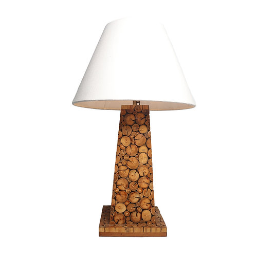 Coffee Wood Pyramid Table Lamp With Cotton Shade