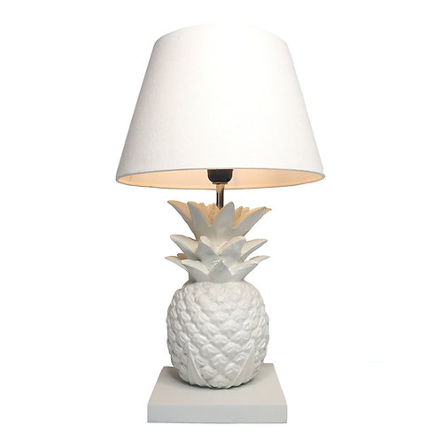 White Pineapple Table Lamp With Cotton Shade