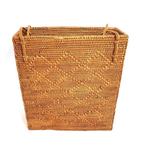 Rattan Bag Natural in rectangle with thin handle