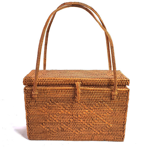 Rattan Bag Natural in short rectangle with thin handle