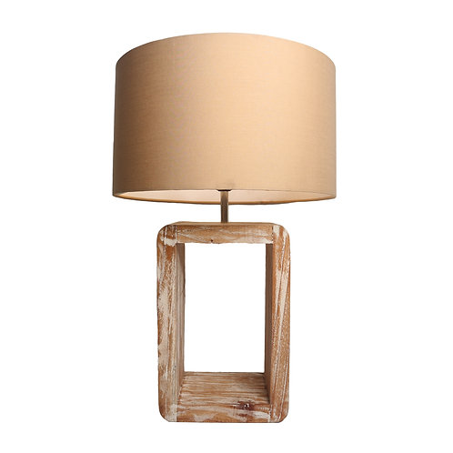 Rectangle Rustic Table Lamp With Cotton Shade