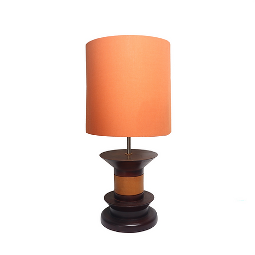 Catur Teak Wood Table Lamp With Cotton Shade