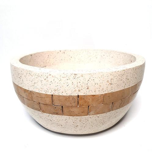 Terazzo Pot with Golden Stripe