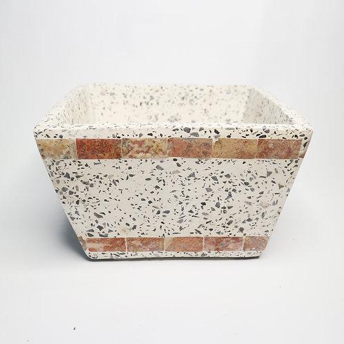 Square Terrazzo Pot With Stripe
