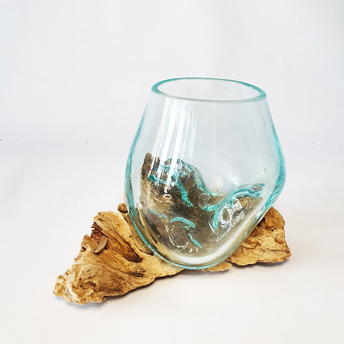 Glass aquarium melted on the wood #12