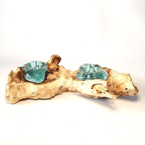 Glass ashtray melted on the wood #2