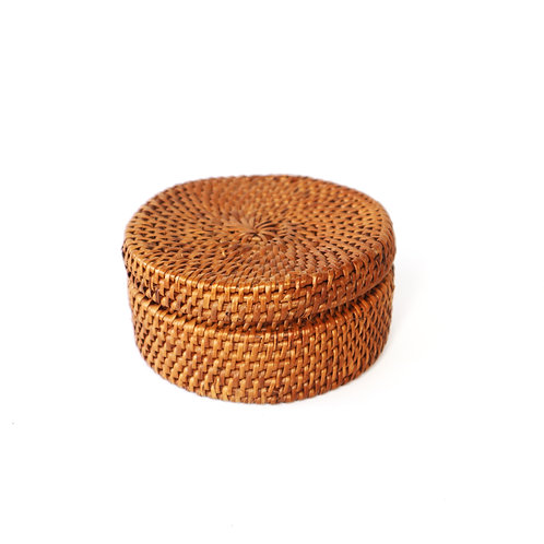 Rattan holder with the lid (small)