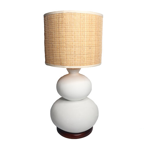 Two Balls Fiber Table Lamp With Rattan Shade