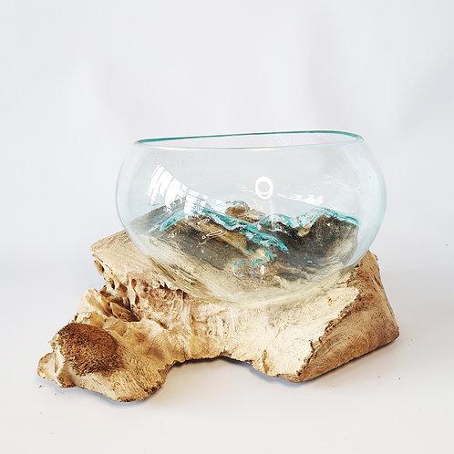 Glass aquarium melted on wood #5