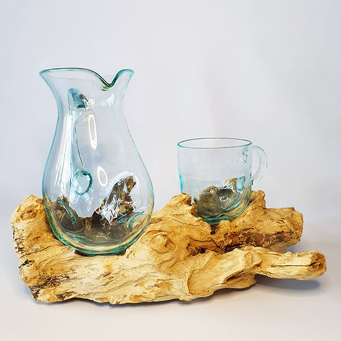 Glass and jar melted on the wood