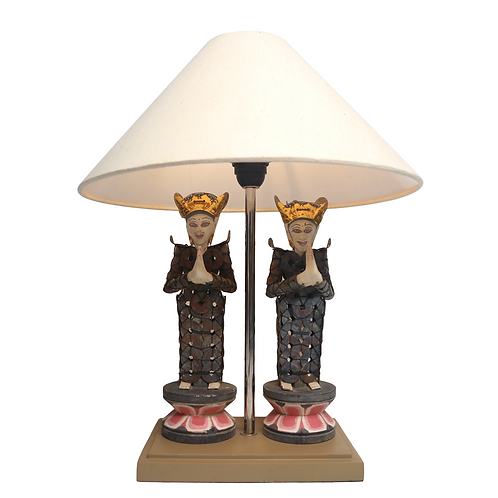 Traditional Balinese Coins Statue Set Table Lamp With Cotton Shade