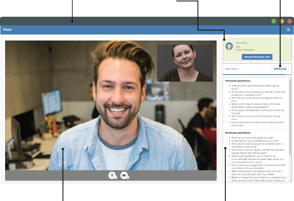 virtual videochat networking provider platform