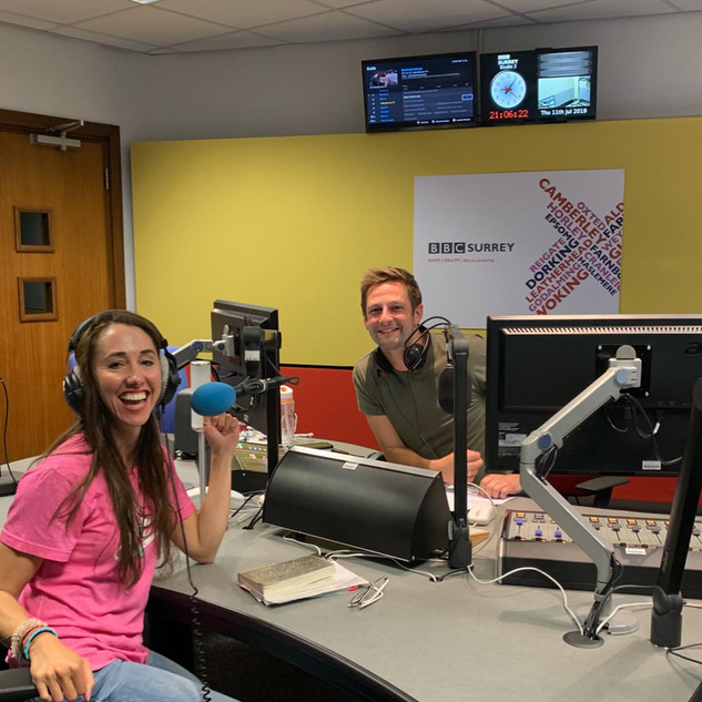 Talking on BBC Radio Surrey with Lewis Mason.