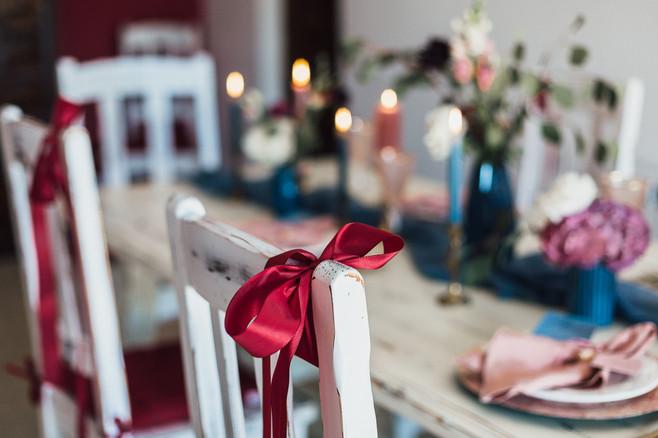 Detailaufnahme Stuhldekoration Hochzeit