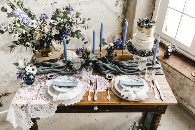 Tisch für Hochzeit mit Vintage Deko