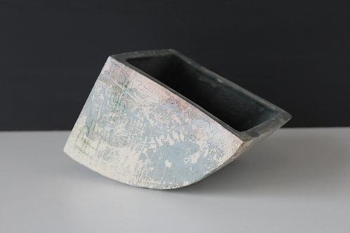Medium open ceramic sculpture with grey