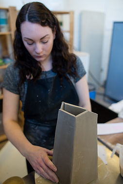 Meghan Downs Making Handmade Ceramic Vessel in Studio