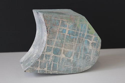 Medium solid ceramic sculpture with blue & green