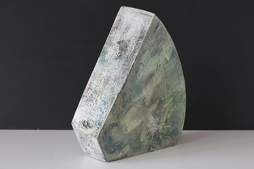 Slim large ceramic solid sculpture with greens