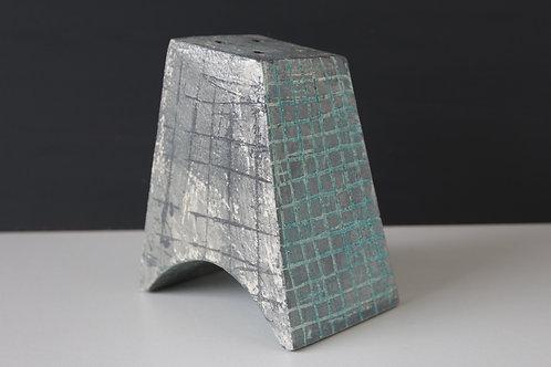 Medium arched ceramic sculpture with grey & blue