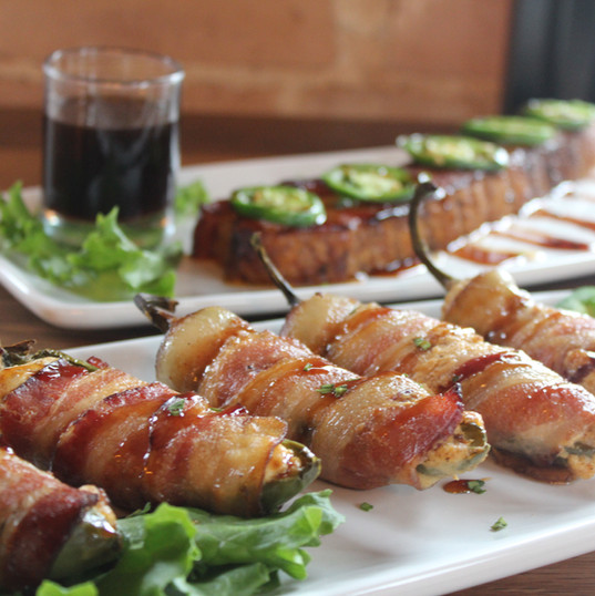 Bacon Wrapped Jalapenos and Smoked Bacon Slab