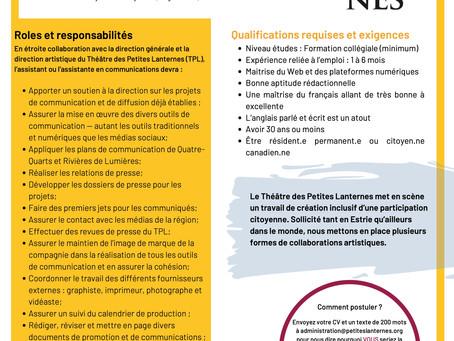 Offre emploi : Assistant.e aux communications