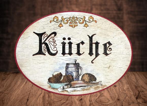 Echtholz Schild Küche