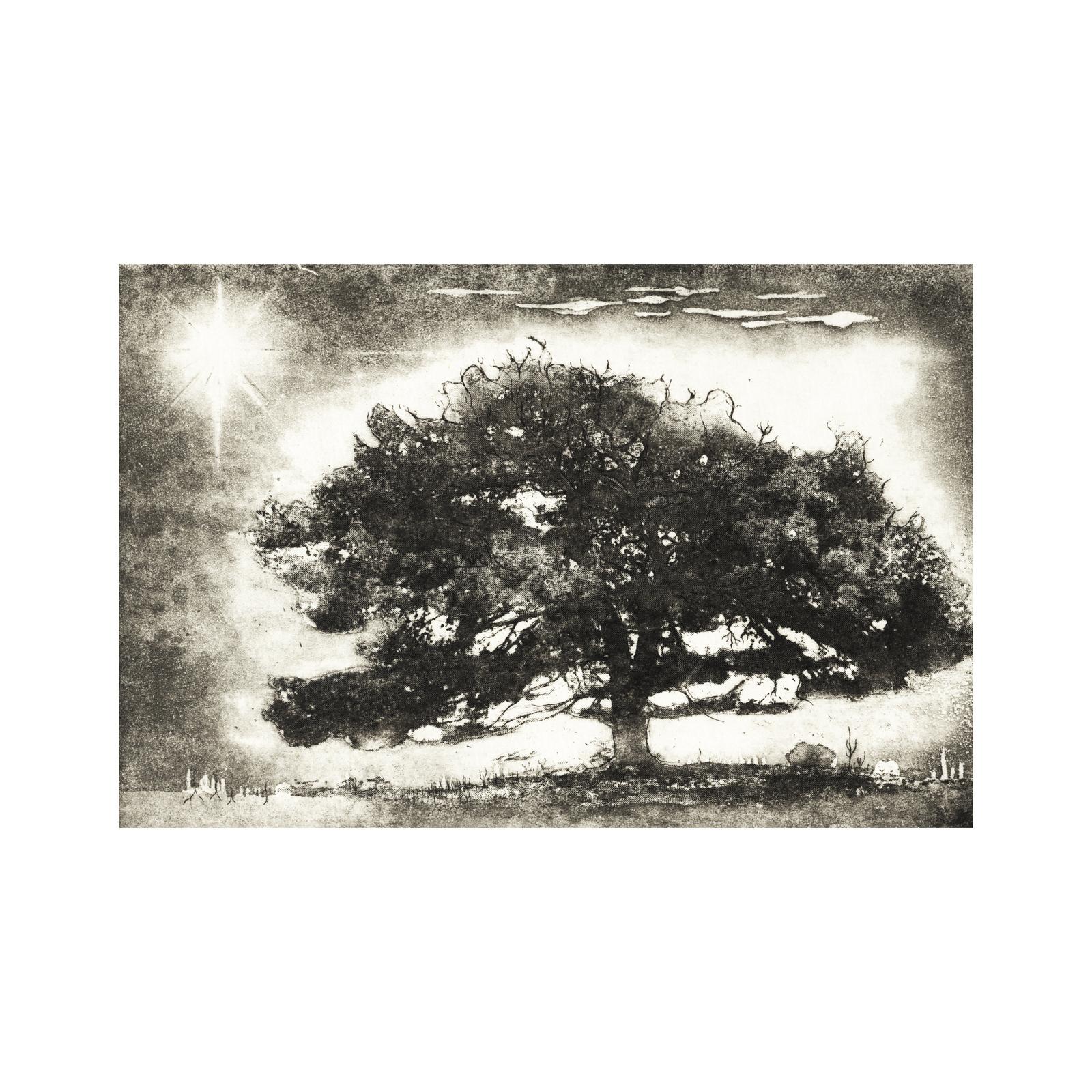 Baum am Berg Radierung 9