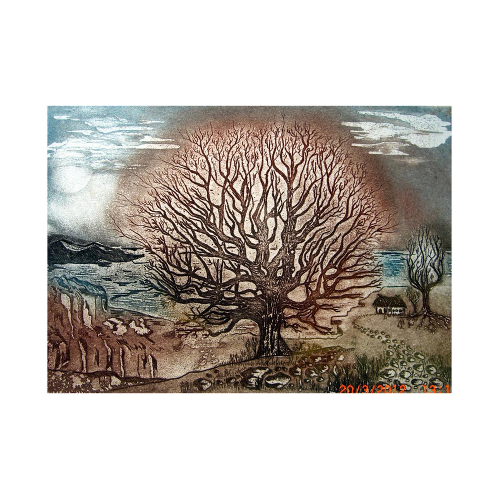 Zwei_Bäume_am_Meer_Radierung_32