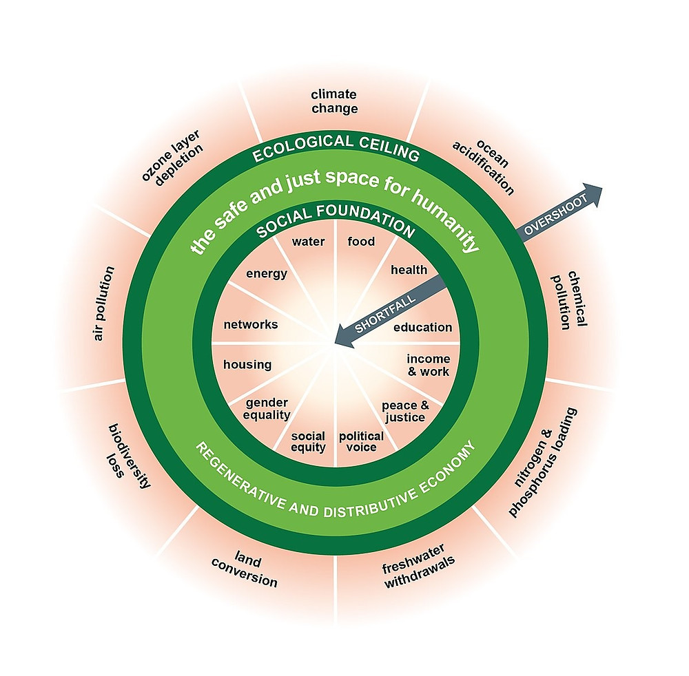 """The """"Doughnut"""": The green ring represents a sweet-spot where our socio-economic systems should be placed, such that they respect (external) planetary boundaries, and fulfil (internal) societal needs."""