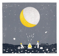 月夜の焚き火