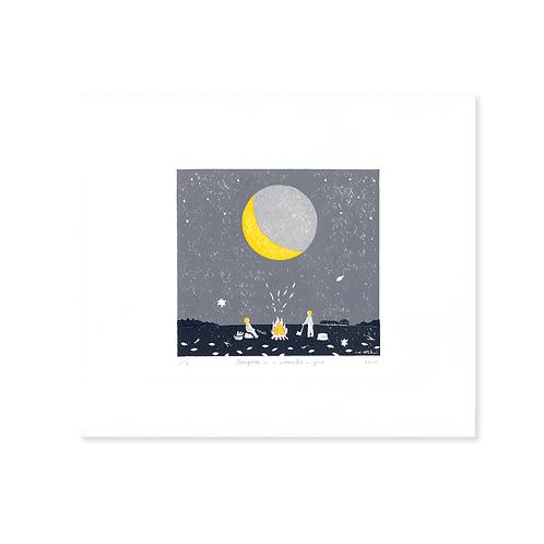 Printing Sheet | Bonfire in a Moonlit Night