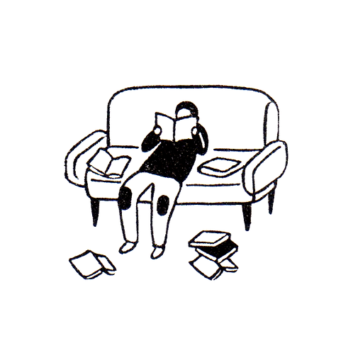 Reading Books on the Sofa