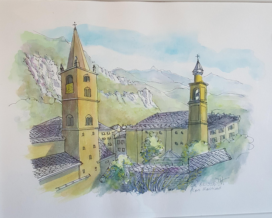 31. Travel sketch  - Croquis de voyage La Brigue - (Alpes-Maritimes)