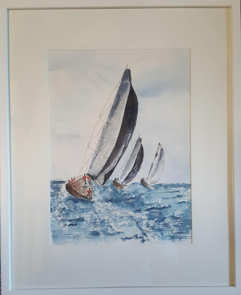 14. Sailboats at sea - Voiliers en mer