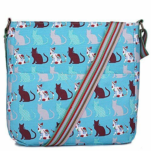 Women Cross Body Bag Cat Canvas Messenger Bags Teenagers Satchel Schoolbag