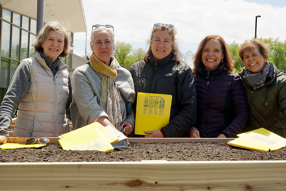 Volunteers at the new Levy Senior Center raised garden beds (photo by Beth Reiman)