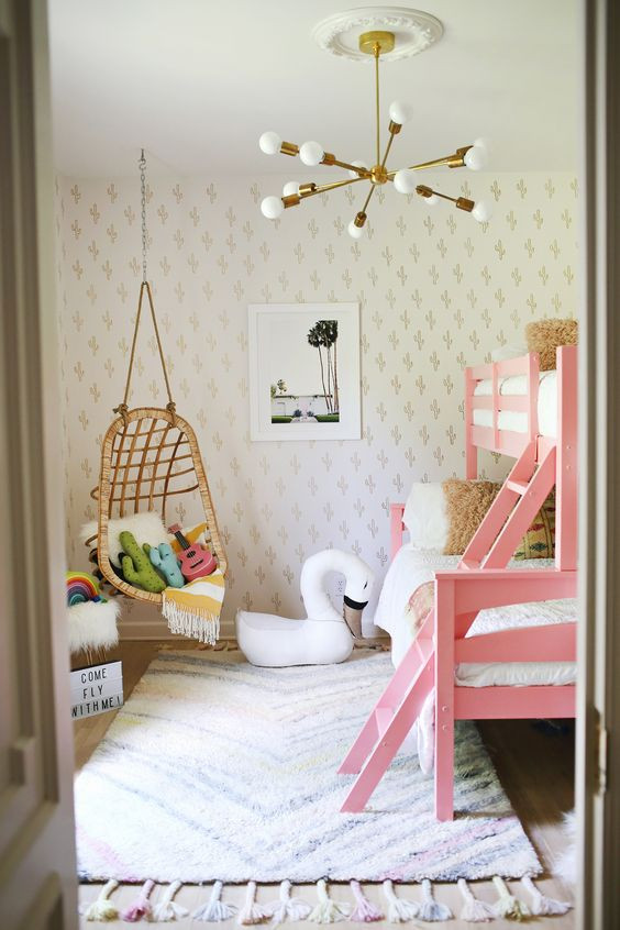 Hanging Chair in Girl's Room