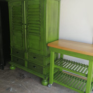 Green and Black Cupboard and Butchers Block