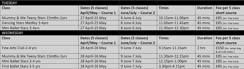 Summer T3 2021 Timetable Preschool Short