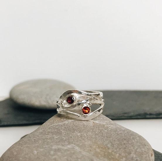 Citrine and Garnet Elm Ring