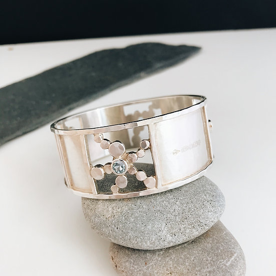 Silver and Topaz bangle